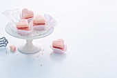 Pink heart-shaped petit fours