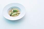 Asparagus essence with chive dumplings