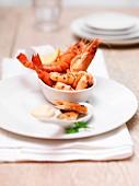 A seafood platter with king prawns, prawns and smoked mackerel
