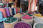 A market stand in Marrakesh, Morocco