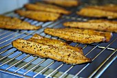 Smoked trout fillets on a cooking grid