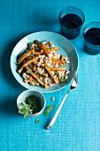 Buckwheat with fried tofu strips