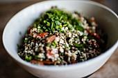 Bulgur salad with puy lentils, tomatoes, lemon and sumac