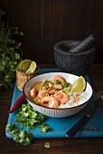 Massaman Thai curry with prawns, rice, fresh chilli, lime and coriander