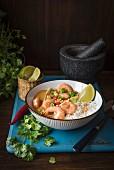 Massaman Thaicurry mit Garnelen und Reis, frische Chili, Limette und Koriandergrün