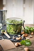 A jar of coriander and cashew nut pesto