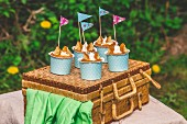 Butterfly cupcakes on a picnic basket