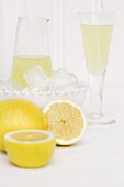 Homemade limoncello (lemon liqueur)