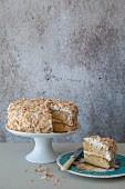 Coconut cake, sliced