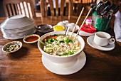 Traditional Burmese noodle soup (Myanmar, Burma)