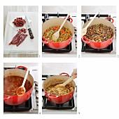 Preparing Spaghetti Bolognese
