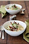 Broad Bean, Ricotta and Bacon Linguine