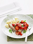 Roasted tuna with tomatoes & capers