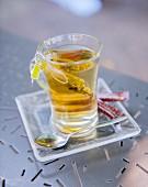 A glass of herb tea
