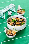Mussels with sautéed vegetables for a football evening