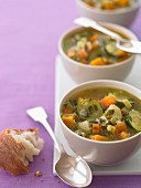 Butternut squash soup with courgettes and carrots
