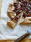 Chocolate and almond galette, sliced