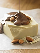 White chocolate, almonds and chocolate sauce