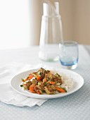 Tofu with curry, carrots and rice