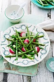 Asparagus and pea salad with beans and radishes