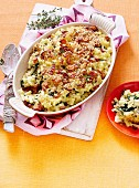 Greens, mac & cheese gratin