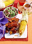 Barbecued ribs with black bean salsa