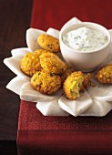 Indian Chickpea Patties with Mint Raita
