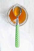 Quince honey in a glass and on a spoon