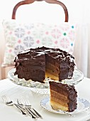 A layered almond and chocolate cake with a slice cut out