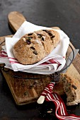 Homemade yeast bread with pumpkin seeds and cranberries