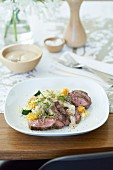 Grilled Lamb with Garlicky white bean puree