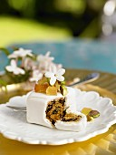 Small fruit cake with candied fruits and pistachios
