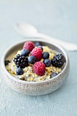 Vegan quark desert with chia seeds and fresh berries
