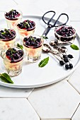 Elderflower jelly with blackcurrant compote