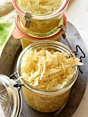 Sauerkraut in jars
