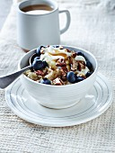 Muesli with blueberries and pecan nuts