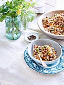 White bean salad with Cheddar cheese, bacon and walnuts