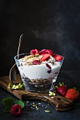 Muesli with Greek yoghurt and berries for breakfast