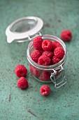 Fresh raspberries in a glass