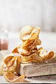 Homemade potato crisps