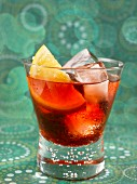 Negroni with ice cubes