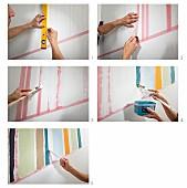 Wandgestaltung - Bunte Streifen an die Wand malen