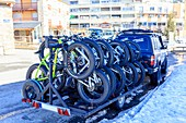 Snow bikes at a ski resort