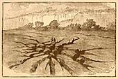 Earthquake fissures illustration