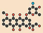 Epirubicin cancer drug molecule