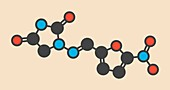 Nitrofurantoin antibiotic drug molecule