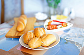 Fresh bread rolls on the table