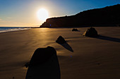 Rocks on sandy beach at sunset