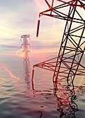 Electricity pylons in water,illustration
