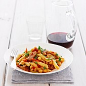 Pasta with Vegetables, Sausages and chickpeas